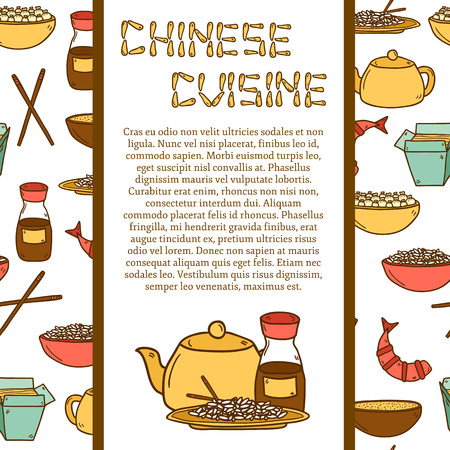 chinese teapot: Vector template with cute modern hand drawn cartoon objects on chinese food theme with seamless background: rice, teapot, chinese pasta, soy sause, soup, chinese sticks, chinese dumpling, shrimp. Vector ethnic chinese cuisine concept. You can use it for y Illustration