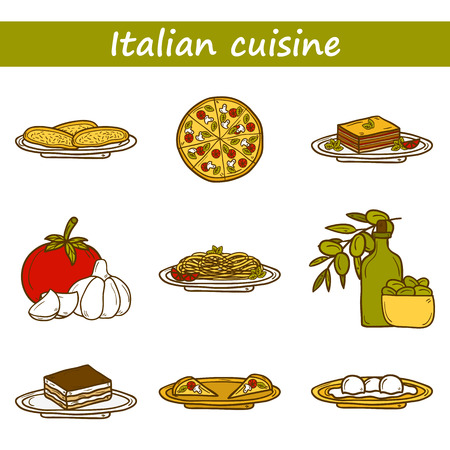 bolognese: Set of cute cartoon icons in hand drawn style on italian food theme: pizza, pasta, tomato, olive oil, olives, tiramisu, mozzarella, lasagna. Ethnic cuisine concept. Italian cuisine hand drawn objects. Great for restaurant menu or emblem, shop, site or app Illustration