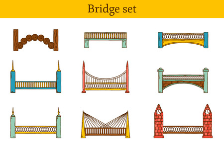 bridge hand: Set of simple cute cartoon colorful hand drawn bridge icons. City and travel concept