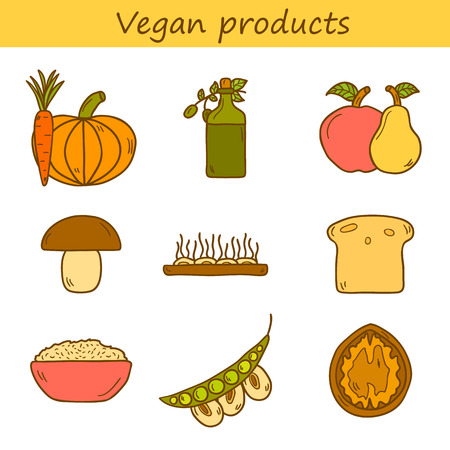 soy bean: Set of modern icons in hand drawn style on vegan food theme: fruit, vegetable, mushroom, soy, bean, oil, nut, bread, rice. Raw healthy food or vegan concept.  Illustration