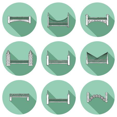 bridge hand: Set of simple cute cartoon outline hand drawn bridge icons with shadows.