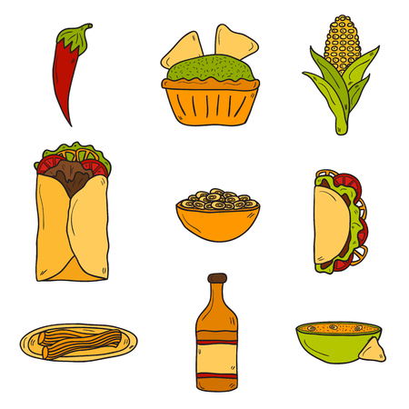 food ingredient: Set of cute cartoon hand drawn icons on mexican food theme: chili, taco. tobacco, birrito, nachos, tequila, rice.