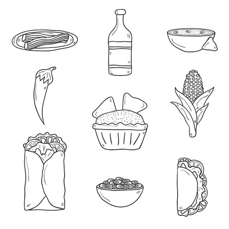 nachos: Set of cute cartoon hand drawn outline icons on mexican food theme: chili, taco. tobacco, birrito, nachos, tequila, rice.