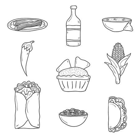 nachos: Set of cute cartoon hand drawn outline icons on mexican food theme: chili, taco. tobacco, birrito, nachos, tequila, rice.