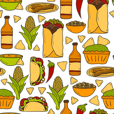 Seamless background with cute cartoon hand drawn objects on mexican food theme: chili, taco. tobacco, birrito, nachos, tequila, rice.