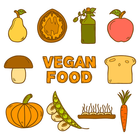 celiac: Set of modern icons in hand drawn style on vegan food theme: fruit, vegetable, mushroom, soy, bean, oil, nut, bread, rice. Raw healthy food or vegan concept.  Illustration