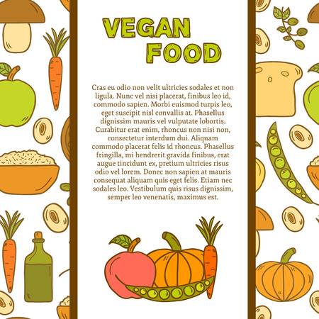 vegan food:  tempate with cute cartoon modern objects in hand drawn style on vegan food theme: fruit, vegetable, mushroom, soy, bean, oil, nut, bread, rice.