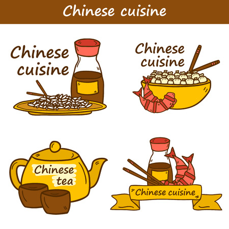 rice and beans: Set of templates with cute modern hand drawn cartoon objects on chinese food theme: rice, teapot, chinese pasta, soy sause, soup, chinese sticks, chinese dumpling, shrimp. Chinese cuisine concept.