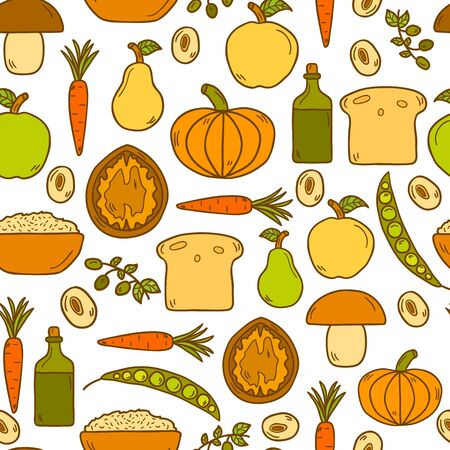 vegetarian cuisine: Modern seamless background with objects in cute cartoon hand drawn style on vegan food theme: fruit, vegetable, mushroom, soy, bean, oil, nut, bread, rice. Raw healthy food or vegan concept.