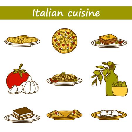 lasagna: Set of cute cartoon icons in hand drawn style on italian food theme: pizza, pasta, tomato, olive oil, olives, tiramisu, mozzarella, lasagna. Ethnic cuisine concept. Italian cuisine hand drawn objects.