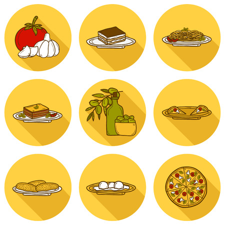 italian cuisine: Set of cute cartoon icons in hand drawn style with shadows on italian food theme: pizza, pasta, tomato, olive oil, olives, tiramisu, mozzarella, lasagna. Ethnic cuisine concept. Italian cuisine hand drawn objects.