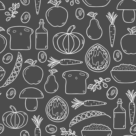 soy free: Modern seamless background with objects in cute cartoon hand drawn style on vegan food theme: fruit, vegetable, mushroom, soy, bean, oil, nut, bread, rice. Raw healthy food or vegan concept.