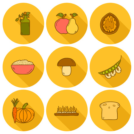 モダンなアイコンのセットをシャドウ ビーガン料理をテーマに手描きスタイル: フルーツ、野菜、きのこ、大豆、豆、油、ナット、パン、ご飯。