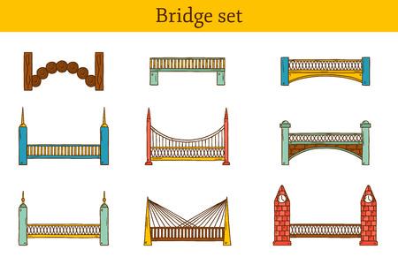 bridge hand: Set of simple cute cartoon colorful hand drawn bridge icons.