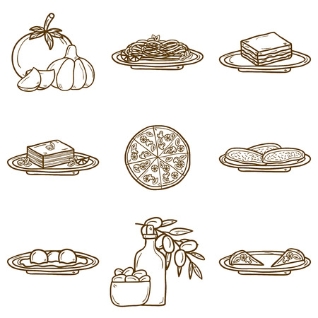 italian cuisine: Set of cute cartoon icons in hand drawn style on italian food theme: pizza, pasta, tomato, olive oil, olives, tiramisu, mozzarella, lasagna. Ethnic cuisine concept. Italian cuisine hand drawn objects.