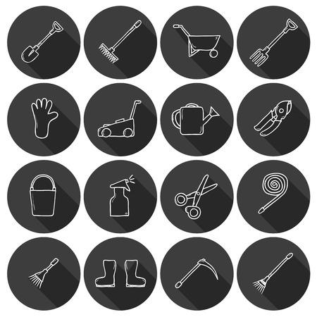 carretilla de mano: Conjunto de iconos dibujados a mano de dibujos animados lindo con sombra sobre las herramientas de jardín tema: regadera, guantes, cortador, pitchfork, pala, botas, rastrillo, tijeras de podar, carretilla de mano, cubo, manguera, pulverizador