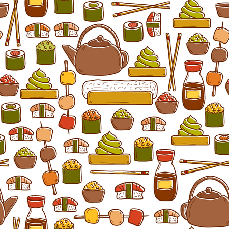 wasabi: Seamless background with cute cartoon hand drawn objects on japanese cuisine theme: tea pot, rolls, sushi, wasabi, caviar. Ethnic travel concept.  Illustration