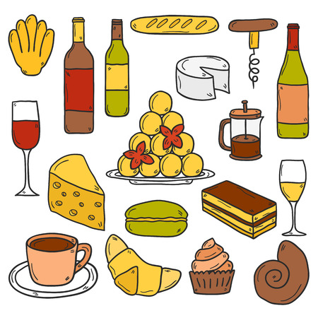 wine and food: Set of cartoon cute hand drawn icons on french cuisine theme: cheese, wine, macaroon, criossant, pastry. Ethnic travel concept.