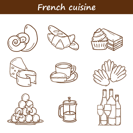 french cuisine: Set of cartoon cute hand drawn outline icons on french cuisine theme: cheese, wine, macaroon, criossant, pastry. Ethnic travel concept.  Illustration