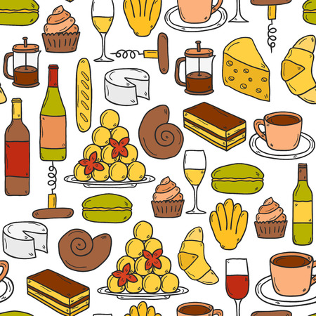 french cuisine: Seamless background with cartoon cute hand drawn objects on french cuisine theme: cheese, wine, macaroon, criossant, pastry. Ethnic travel concept.