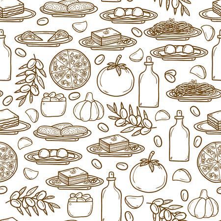 italian food: Seamless background with hand drawn objects on italian food theme: pizza, pasta, tomato, olive oil, olives, tiramisu, mozzarella, lasagna. Ethnic cuisine concept. Italian cuisine hand drawn objects.  Illustration