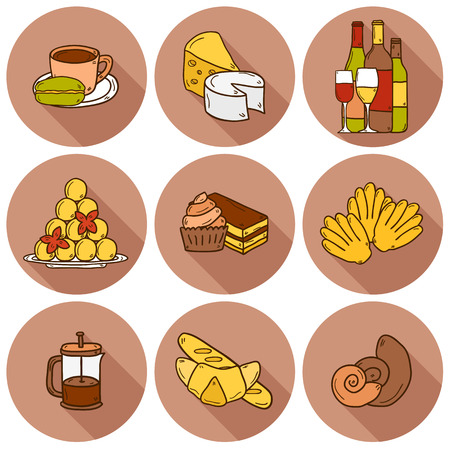 french cuisine: Set of cartoon cute hand drawn icons with shadows on french cuisine theme: cheese, wine, macaroon, criossant, pastry. Ethnic travel concept.