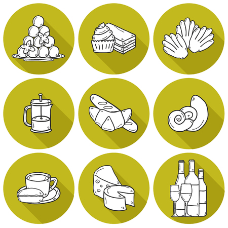 french cuisine: Set of cartoon cute hand drawn icons with shadows on french cuisine theme: cheese, wine, macaroon, criossant, pastry. Ethnic travel concept.  Illustration