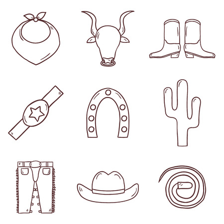 riding boot: Set of cute cartoon hand drawn icons on rodeo theme. Western concept