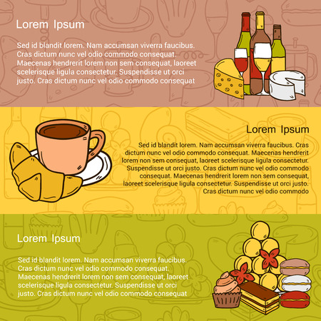 culinary tourism:  french cuisine concept with cartoon cute hand drawn objects and outline background on french cuisine theme: cheese, wine, macaroon, criossant, pastry. Ethnic travel concept.