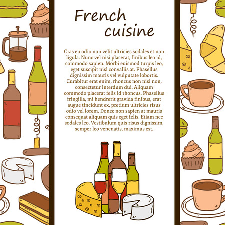 french cuisine:  french cuisine concept with cartoon cute hand drawn objects and seamless background on french cuisine theme: cheese, wine, macaroon, criossant, pastry. Ethnic travel concept.
