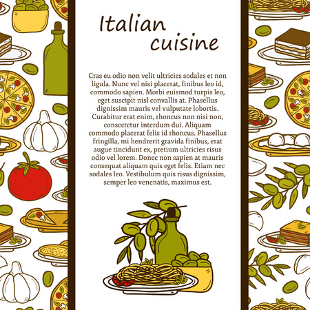 italian cuisine concept with cute cartoon hand drawn objects and seamless background: pizza, pasta, tomato, olive oil, olives, tiramisu, mozzarella, lasagna. Ethnic cuisine concept. Italian cuisine hand drawn objects.