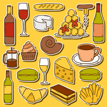 culinary tourism: Set of cartoon cute hand drawn stickers on french cuisine theme: cheese, wine, macaroon, criossant, pastry. Ethnic travel concept.