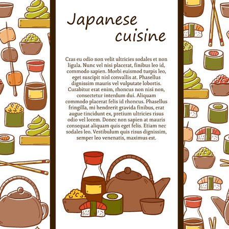 wasabi: japanese cuisine concept with cute cartoon hand drawn objects and seamless background: tea pot, rolls, sushi, wasabi, caviar. Ethnic travel concept.  Illustration
