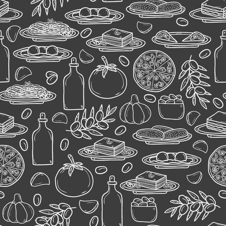 Seamless background with hand drawn objects on italian food theme: pizza, pasta, tomato, olive oil, olives, tiramisu, mozzarella, lasagna. Ethnic cuisine concept. Italian cuisine hand drawn objects.  Illustration