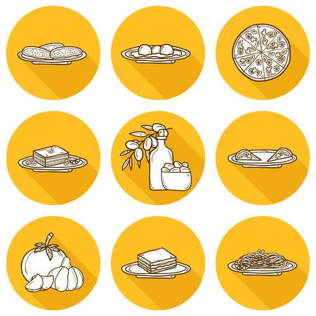 italian cuisine: Set of cute cartoon icons in hand drawn shadow style on italian food theme: pizza, pasta, tomato, olive oil, olives, tiramisu, mozzarella, lasagna. Ethnic cuisine concept. Italian cuisine hand drawn objects.  Illustration