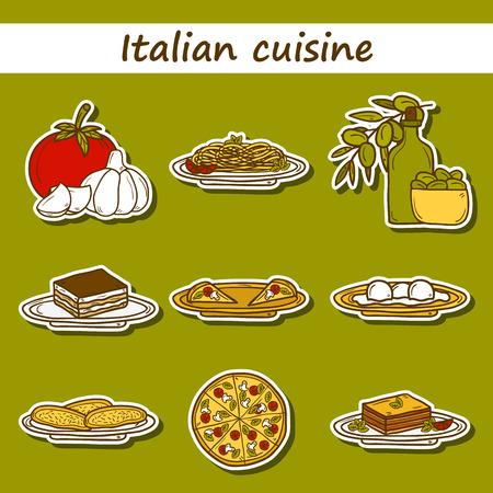 italian cuisine: Set of cute cartoon stickers in hand drawn style on italian food theme: pizza, pasta, tomato, olive oil, olives, tiramisu, mozzarella, lasagna. Ethnic cuisine concept. Italian cuisine hand drawn objects.  Illustration