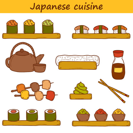 wasabi: Set of cute cartoon hand drawn icons on japanese cuisine theme: tea pot, rolls, sushi, wasabi, caviar. Ethnic travel concept.