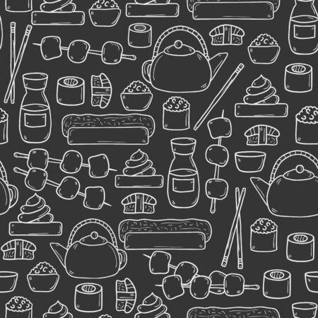 wasabi: Seamless background with cute cartoon hand drawn objects on japanese cuisine theme: tea pot, rolls, sushi, wasabi, caviar. Ethnic travel concept.