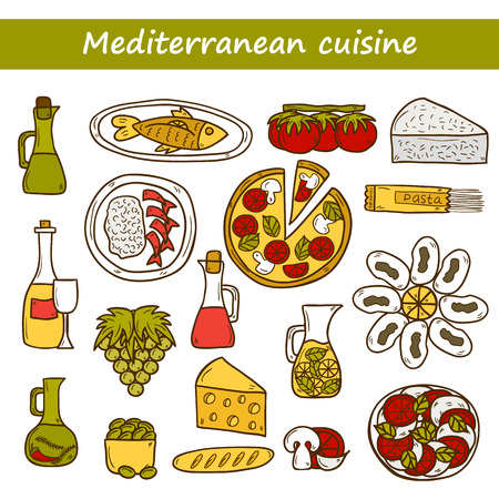 wine and cheese: Set of cute hand drawn cartoon objects on mediterranean cuisine theme: tomato, pasta, wine, cheese, olive, Ethnic food travel concept.