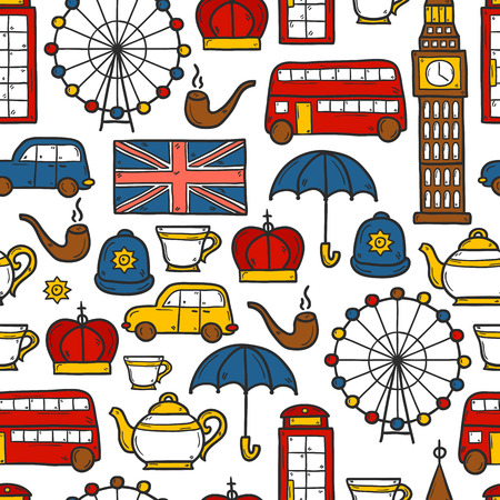 telephone box: Seamless background with cute hand drawn cartoon objects on London theme: queen crown, red bus, big ben, umbrella, london eye, telephone box. Travel concept for site, card, map