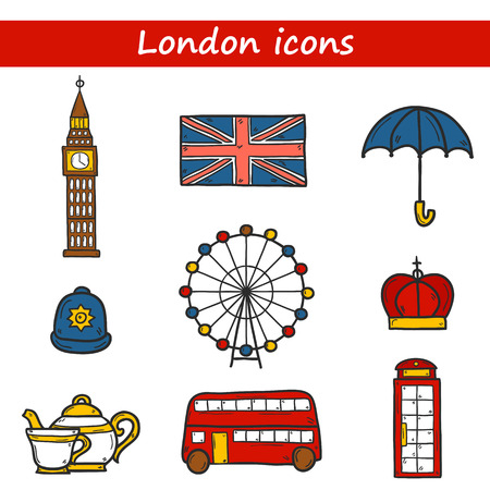 telephone cartoon: Set of cute hand drawn cartoon objects on London theme: queen crown, red bus, big ben, umbrella, london eye, telephone box. Travel concept for site, card Illustration