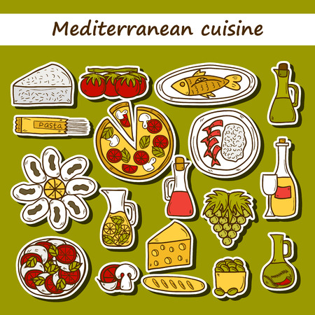 wine and cheese: Set of cute hand drawn cartoon stickers on mediterranean cuisine theme: tomato, pasta, wine, cheese, olive, Ethnic food travel concept.