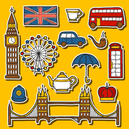red telephone box: Set of cute hand drawn cartoon stickers on London theme: queen crown, red bus, big ben, umbrella, london eye, telephone box. Travel concept for site, card Illustration