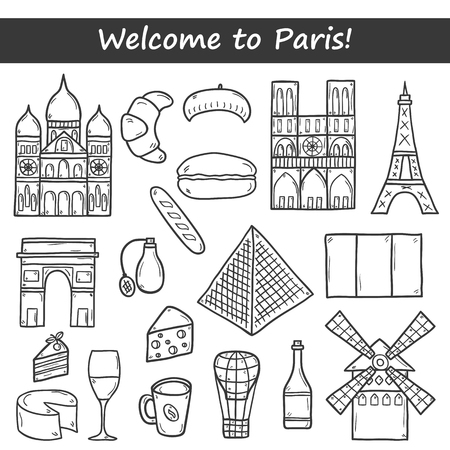 rouge: Set of cute hand drawn cartoon objects on Paris: eiffel tower, flag, moulen rouge, wine, croissant, macaroon. notre-dame. Travel concept for site, map, card Illustration