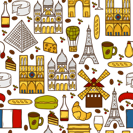 rouge: Seamless background with cute hand drawn cartoon shadow objects on Paris theme: eiffel tower, flag, moulen rouge, wine, croissant, macaroon. notre-dame. Travel concept for site, map