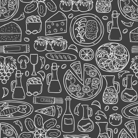 mediterranean: Seamless background with cute hand drawn cartoon objects on mediterranean cuisine theme: tomato, pasta, wine, cheese, olive, Ethnic food travel concept.  Illustration