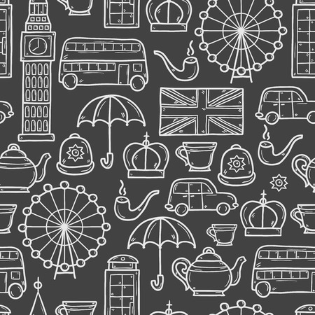 telephone box: Seamless background with cute hand drawn cartoon objects on London theme: queen crown, red bus, big ben, umbrella, london eye, telephone box. Travel concept for site, card