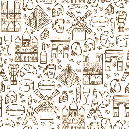 moulin: Seamless background with cute hand drawn cartoon shadow objects on Paris theme: eiffel tower, flag, moulen rouge, wine, croissant, macaroon. notre-dame. Travel concept for site, map