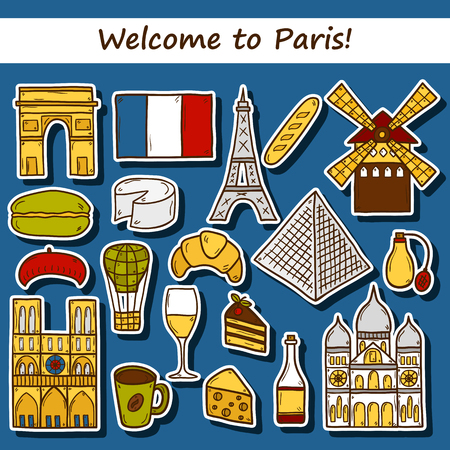 rouge: Set of cute hand drawn cartoon stickers on Paris: eiffel tower, flag, moulen rouge, wine, croissant, macaroon. notre-dame. Travel concept for site, map, card