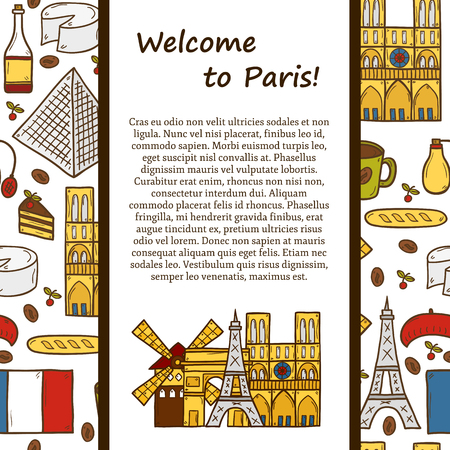 rouge:  travel concept with cute hand drawn cartoon objects on Paris theme: eiffel tower, flag, moulen rouge, wine, croissant, macaroon. notre-dame.  Illustration